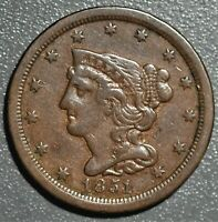 1851 1/2C BRAIDED HAIR HALF CENT GRADE XF  CE3