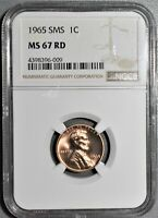 1965 SMS 1C LINCOLN MEMORIAL CENT CERTIFIED BY NGC MS67 RD