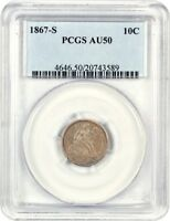 1867-S 10C PCGS AU50 - SEATED LIBERTY DIME