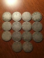 LOT OF 14 WORN CANADA SILVER QUARTERS   BEFORE 1936