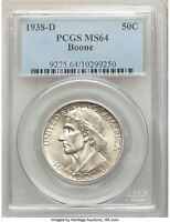 1938-D BOONE SILVER HALF DOLLAR 50C COMMEMORATIVE MINT STATE 64 PCGS ONLY 2,100 MINTED