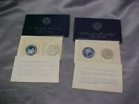 1971 AND 1974 US EISENHOWER UNCIRCULATED SILVER DOLLARS BLUE ENVELOPES NEW