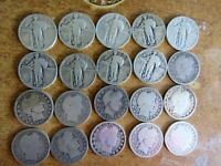 MIXED LOT OF 20 STANDING LIBERTY AND BARBER QUARTERS SOME BETTER DATES