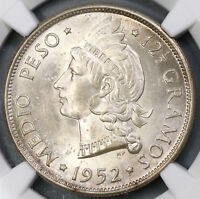 1952 NGC MINT STATE 65 DOMINICAN REPUBLIC 1/2 PESO SILVER COIN 19012101C