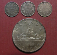 LOT OF  4  CANADA SILVER COINS   1961 SILVER DOLLAR PLUS  3