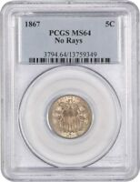 1867 5C PCGS MINT STATE 64 NO RAYS POPULAR NO RAYS ISSUE - SHIELD NICKEL
