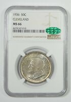 1936 CLEVELAND CENTENNIAL/GREAT LAKES EXPO COMM SILVER 50C CAC & NGC MINT STATE 66