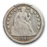 1846 10C SEATED LIBERTY DIME PCGS VG 10  GOOD TO FINE KEY DATE
