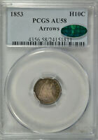 1853 SEATED HALF DIME, WITH ARROWS, PCGS AU58 CAC