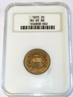 1870 2 CENT US TWO CENT PIECE COIN NGC MINT STATE 65 RD