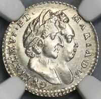 1694 NGC MS 61 WILLAIM MARY 2 PENCE BRITAIN ENGLAND COIN POP 1/0  18090208C