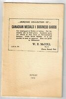 BOOK   W. R. MCCOLL GREAT 1902 SALES LIST OF CANADIAN TOKENS AND MEDALS