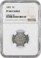 1882 5C NGC PR 68 CAM - TIED FOR FINEST KNOWN - SHIELD NICKEL