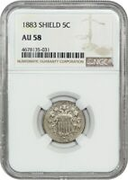 1883 SHIELD 5C NGC AU58 - GREAT TYPE COIN - SHIELD NICKEL - GREAT TYPE COIN