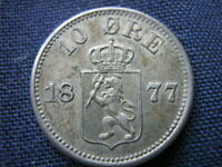 NORWAY 10 ORE 1877   EXCEPTIONAL HIGH GRADE   KEY DATE
