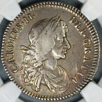 1672 NGC VF 25 CHARLES II SILVER 1/2 CROWN  GREAT BRITAIN ENGLAND  19031603C