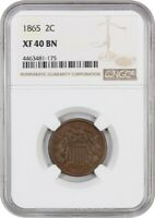 1865 2C NGC EXTRA FINE 40 BN - POPULAR TYPE COIN - 2-CENT PIECE - POPULAR TYPE COIN