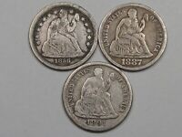 3 F/VF US SEATED LIBERTY DIMES FULL LIBERTY: 1886 SMALL DATE, 1887 & 1891-S.