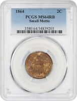 1864 2C PCGS MINT STATE 64 RB SMALL MOTTO 2-CENT PIECE