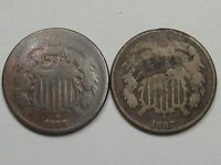 2 OBSOLETE US TWO CENT PIECE COINS: 1866 OLD CLEANING & 1867.  21