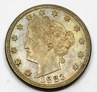1883 UNITED STATES LIBERTY V NICKEL - NO CENTS - AU ABOUT UNCIRCULATED PLUS