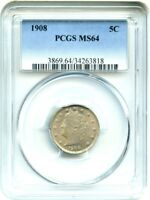 1908 5C PCGS MINT STATE 64 - LIBERTY V NICKEL