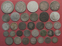 LOT OF  33  WORLD SILVER COINS  MANY COUNTRIES STATES AND CO