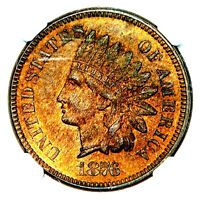 1876 INDIAN HEAD UNITED STATES BRONZE ONE CENT 1C NGC MS62 B