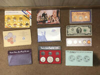 TEN COLLECTIBLE COIN SETS  SILVER PROOFS UNCIRCULATED DOLLAR