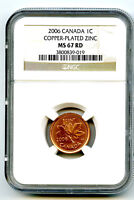 2006 CANADA CENT NGC MS67 RD WITHOUT RCM LOGO COPPER PLATED