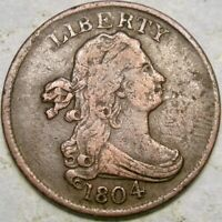 1804 DRAPED BUST HALF CENT SPIKED CHIN  C 6 DIE STATE 12 REV