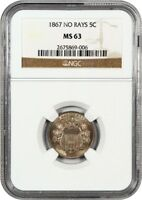 1867 5C NGC MINT STATE 63 NO RAYS SHIELD NICKEL