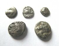 A LOT OF 5 X GREEK SILVER COINS  FRACTIONS  FROM DIFFERENT M