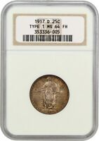 1917-D TYPE 1 25C NGC MINT STATE 64 FH