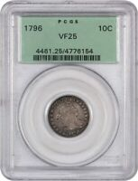 1796 10C PCGS VF25 OGH - BUST DIME -  EARLY DIME, OLD GREEN LABEL