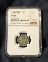 1883 SHIELD NICKEL 5C PROOF, GRADED PF64 BY NGC, COULD BE CAMEO, GOLDEN GEM COIN