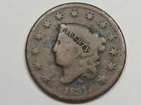 1831 US CORONET HEAD LARGE CENT COIN.  8