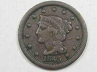 1845 US BRAIDED HAIR LARGE CENT COIN.  14