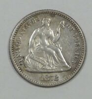 1872 LIBERTY SEATED HALF DIME EXTRA FINE SILVER 5C