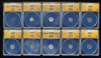 LOT OF 10 SEATED LIBERTY HALF DIMES 1853-1872 ALL ANACS CERTIFIED VG 10 TO EXTRA FINE  45