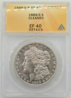 1888-S $1 MORGAN SILVER DOLLAR ANACS EXTRA FINE  40 DETAILS CLEANED