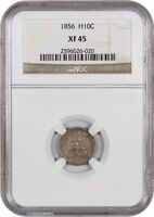 1856 H10C NGC EXTRA FINE 45 - SEATED HALF DIME