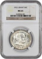 1922 GRANT 50C NGC MINT STATE 65 - POPULAR COMMEMORATIVE ISSUE