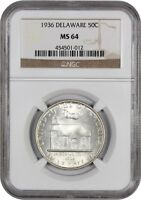 1936 DELAWARE 50C NGC MINT STATE 64 - SILVER CLASSIC COMMEMORATIVE