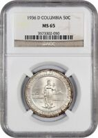 1936-D COLUMBIA 50C NGC MINT STATE 65 - LOW MINTAGE ISSUE - SILVER CLASSIC COMMEMORATIVE
