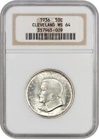 1936 CLEVELAND 50C NGC MINT STATE 64 - SILVER CLASSIC COMMEMORATIVE