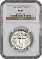 1938-D OREGON 50C NGC MINT STATE 66 - LOW MINTAGE ISSUE - SILVER CLASSIC COMMEMORATIVE