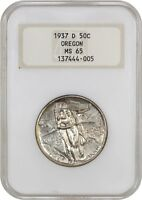 1937-D OREGON 50C NGC MINT STATE 65 OH LOW MINTAGE ISSUE - SILVER CLASSIC COMMEMORATIVE