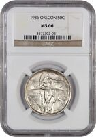 1936 OREGON 50C NGC MINT STATE 66 - LOW MINTAGE ISSUE - SILVER CLASSIC COMMEMORATIVE