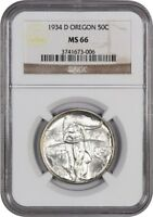1934-D OREGON 50C NGC MINT STATE 66 - LOW MINTAGE ISSUE - SILVER CLASSIC COMMEMORATIVE